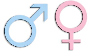 Symbole für weiblich und männlich