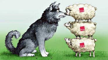 Gewerkschaft gemeinsam stark Wolf Schaf