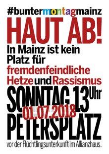 Plakatausschnitt Mainz bleibt bunt, Aufruf zur Demonstration